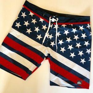 Quicksilver American flag swim trunks. Size 38